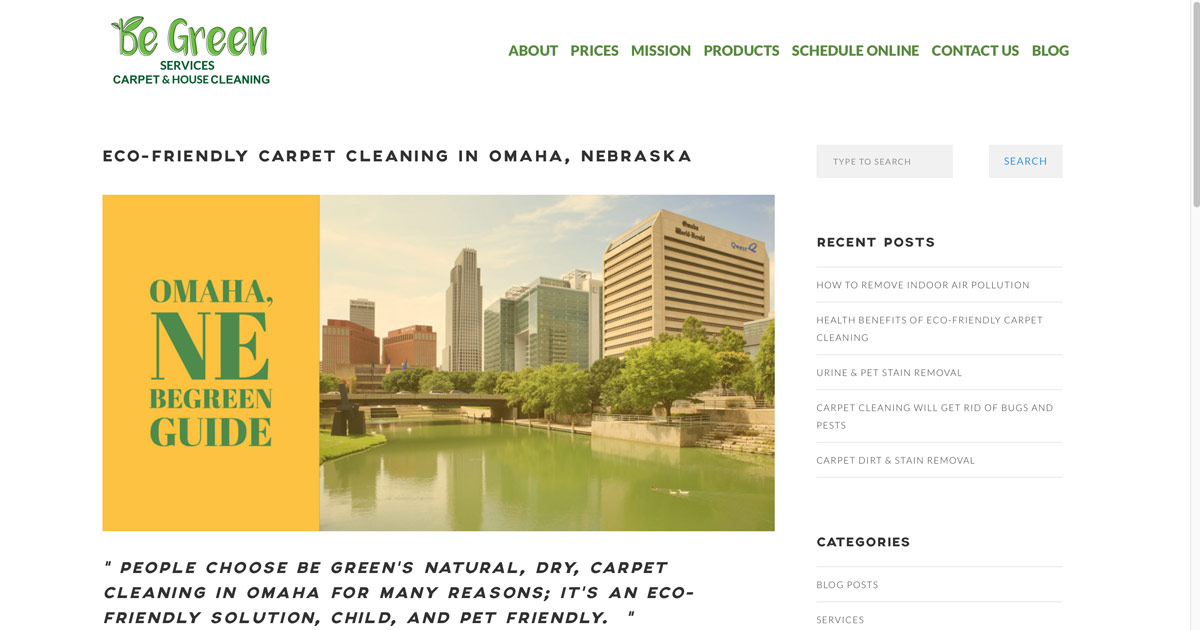 Carpet Cleaning Omaha Ne House Cleaning Be Green